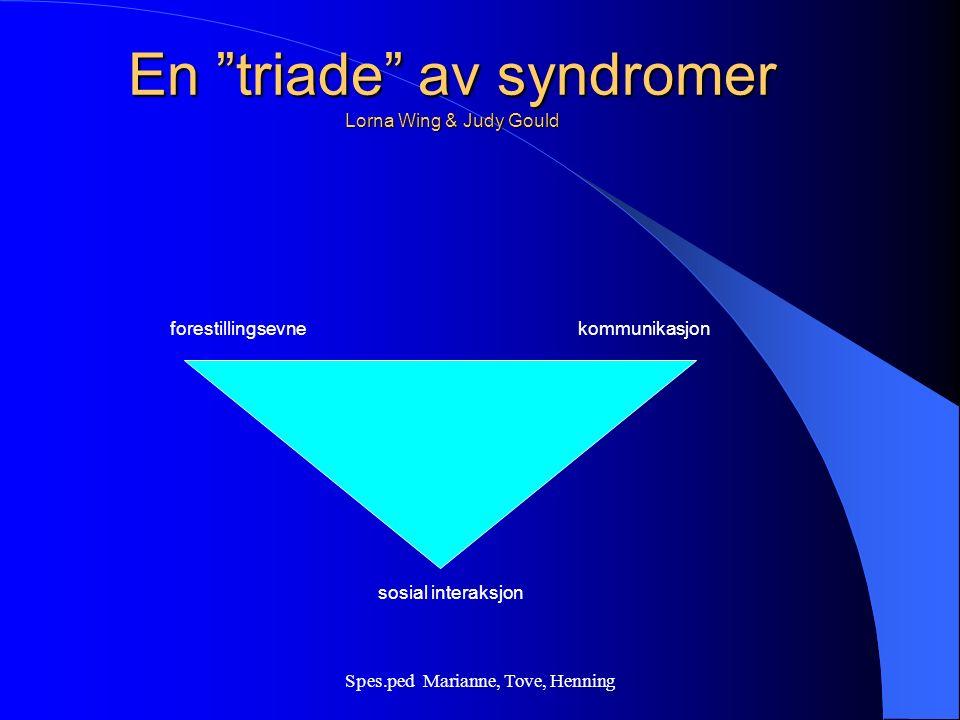 Spes.ped Marianne, Tove, Henning Autisme symtomer – EEG avvikelser (en metode for å kartlegge hjernens elektriske aktivitet) – avvikende nystagmus (ufrivillig rytmisk øyebevegelse) – for sen integrering av umodne, infantile reflekser og stereotype bevegelser