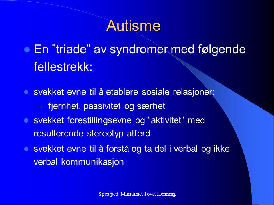 Spes.ped Marianne, Tove, Henning En triade av syndromer Lorna Wing & Judy Gould forestillingsevnekommunikasjon sosial interaksjon