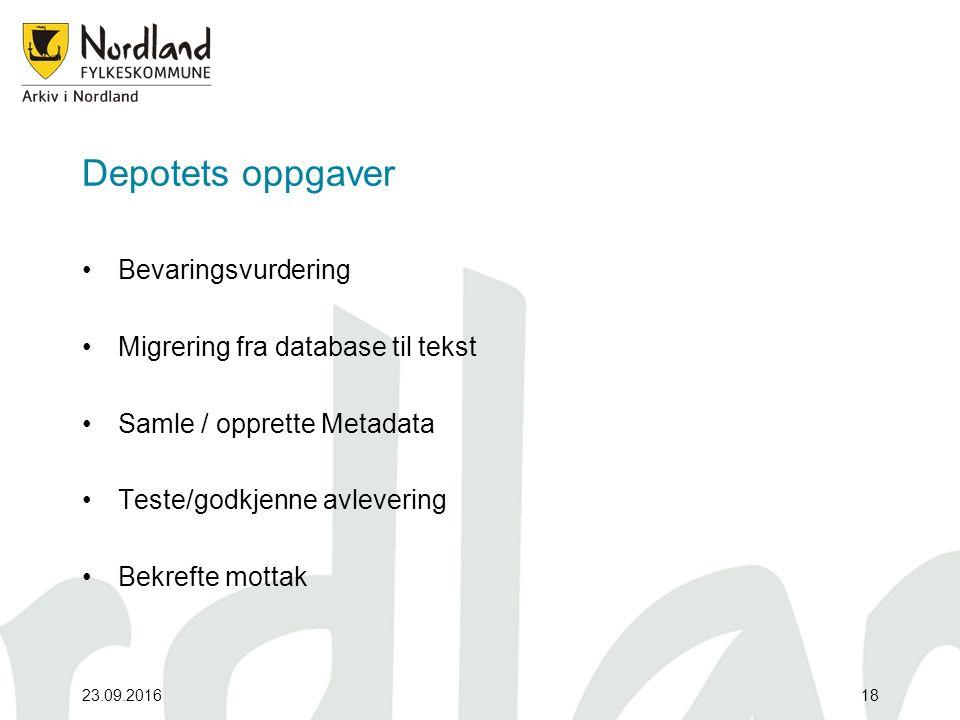 Depotets oppgaver Bevaringsvurdering Migrering fra database til tekst Samle / opprette Metadata Teste/godkjenne avlevering Bekrefte mottak 23.09.201618