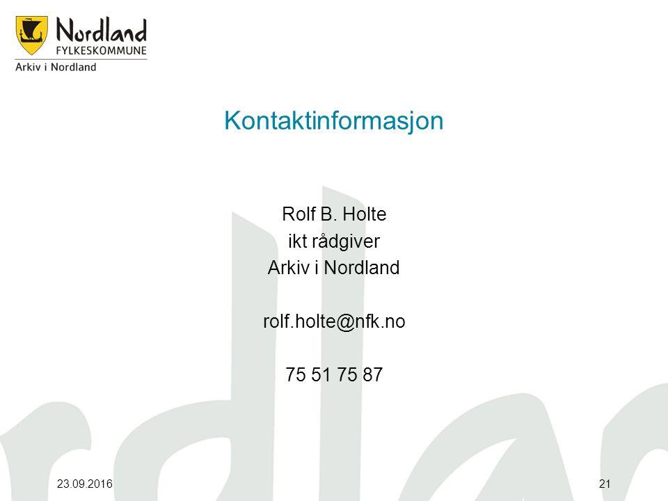 Kontaktinformasjon Rolf B.