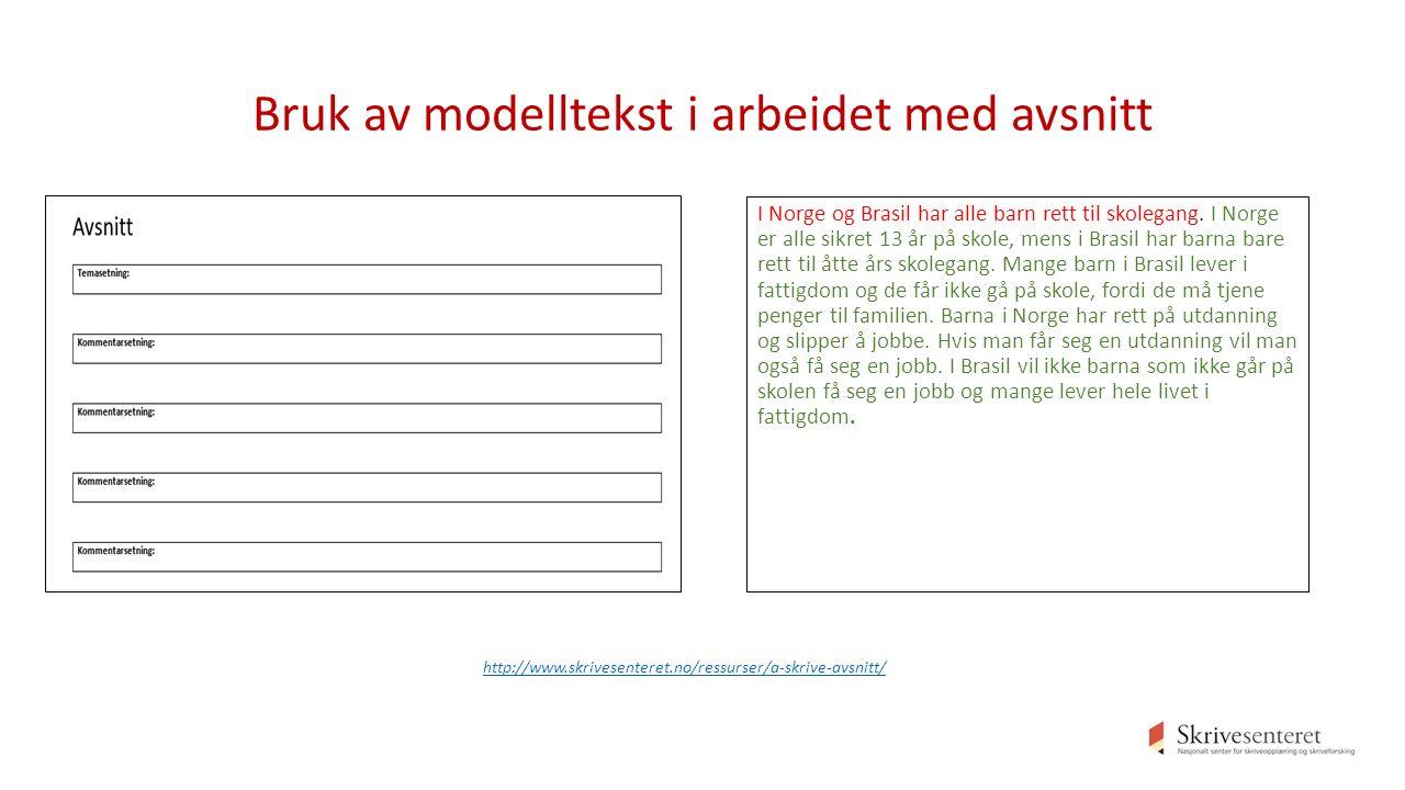 Bruk av modelltekst i arbeidet med avsnitt I Norge og Brasil har alle barn rett til skolegang.
