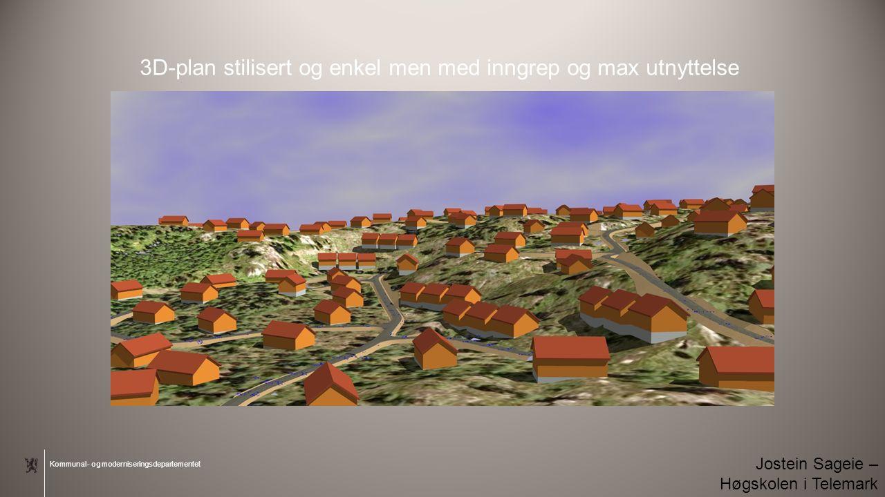 Kommunal- og moderniseringsdepartementet 3D-plan stilisert og enkel men med inngrep og max utnyttelse Jostein Sageie – Høgskolen i Telemark