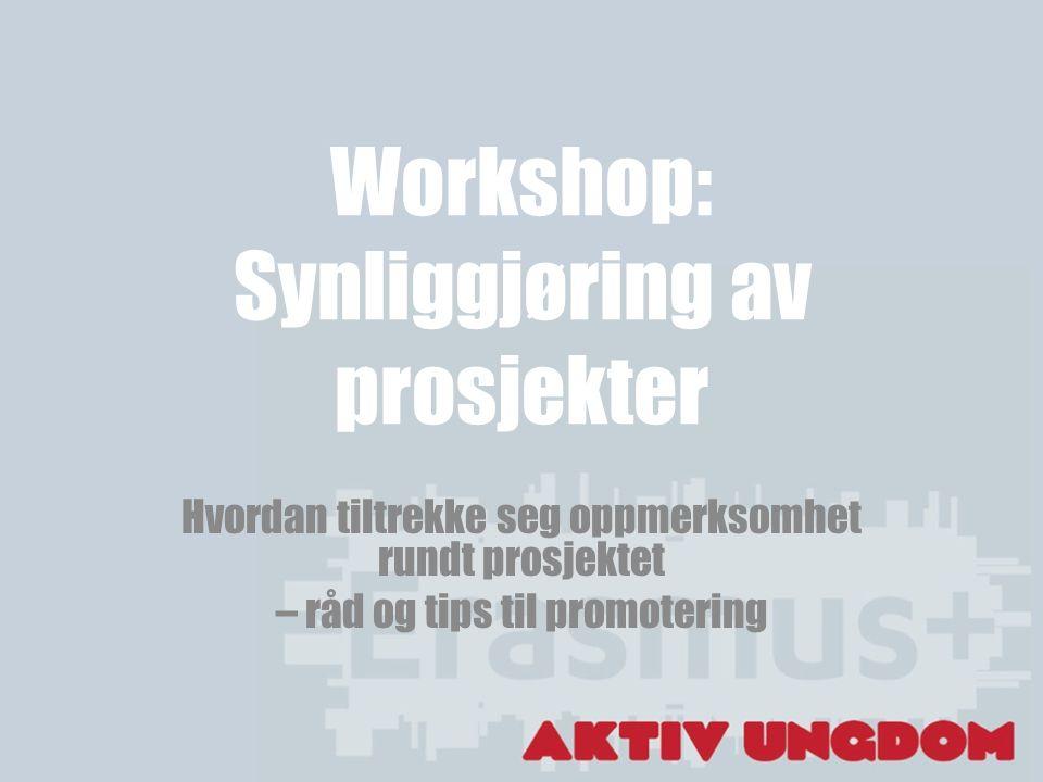 Workshop: Synliggjøring av prosjekter Hvordan tiltrekke seg oppmerksomhet rundt prosjektet – råd og tips til promotering