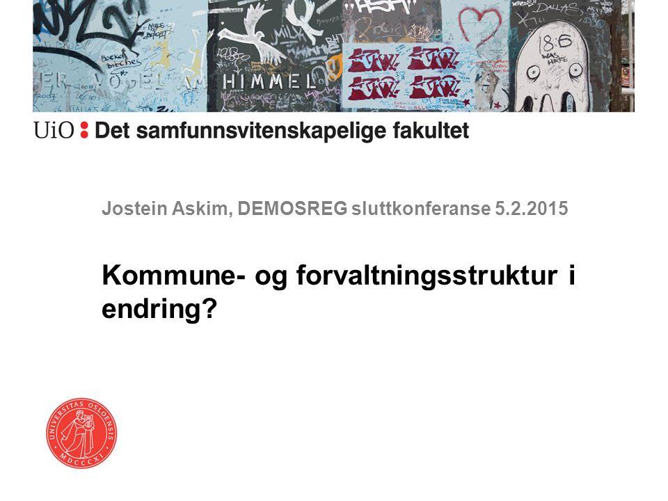 Jostein Askim, DEMOSREG sluttkonferanse 5.2.2015 Kommune- og forvaltningsstruktur i endring