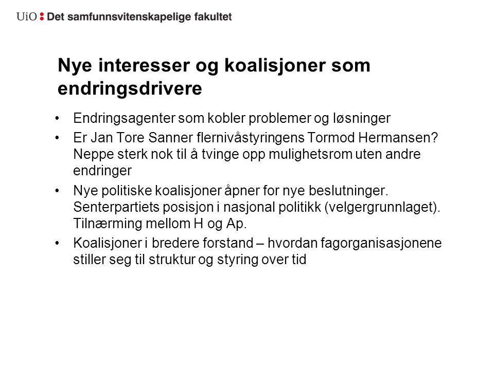 Nye interesser og koalisjoner som endringsdrivere Endringsagenter som kobler problemer og løsninger Er Jan Tore Sanner flernivåstyringens Tormod Hermansen.