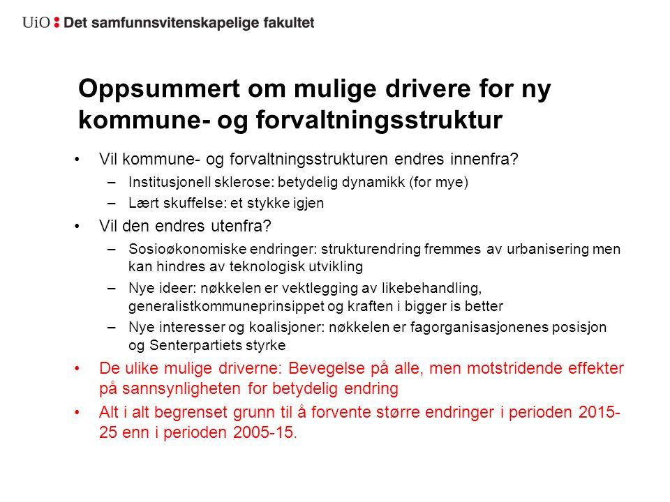 Oppsummert om mulige drivere for ny kommune- og forvaltningsstruktur Vil kommune- og forvaltningsstrukturen endres innenfra? –Institusjonell sklerose: