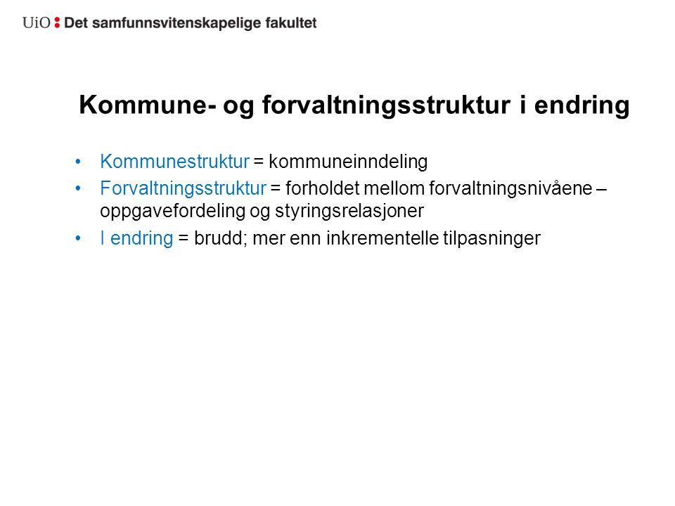 Kommune- og forvaltningsstruktur i endring Treffende beskrivelse av en periode, for eksempel DEMOSREG-perioden 2005-2014.