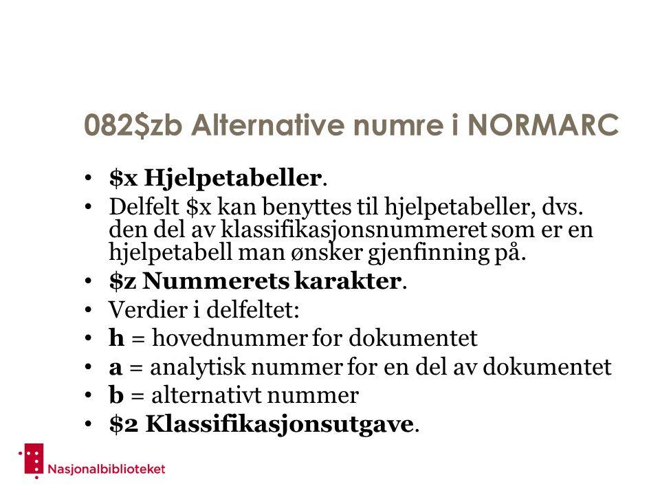 082$zb Alternative numre i NORMARC $x Hjelpetabeller. Delfelt $x kan benyttes til hjelpetabeller, dvs. den del av klassifikasjonsnummeret som er en hj