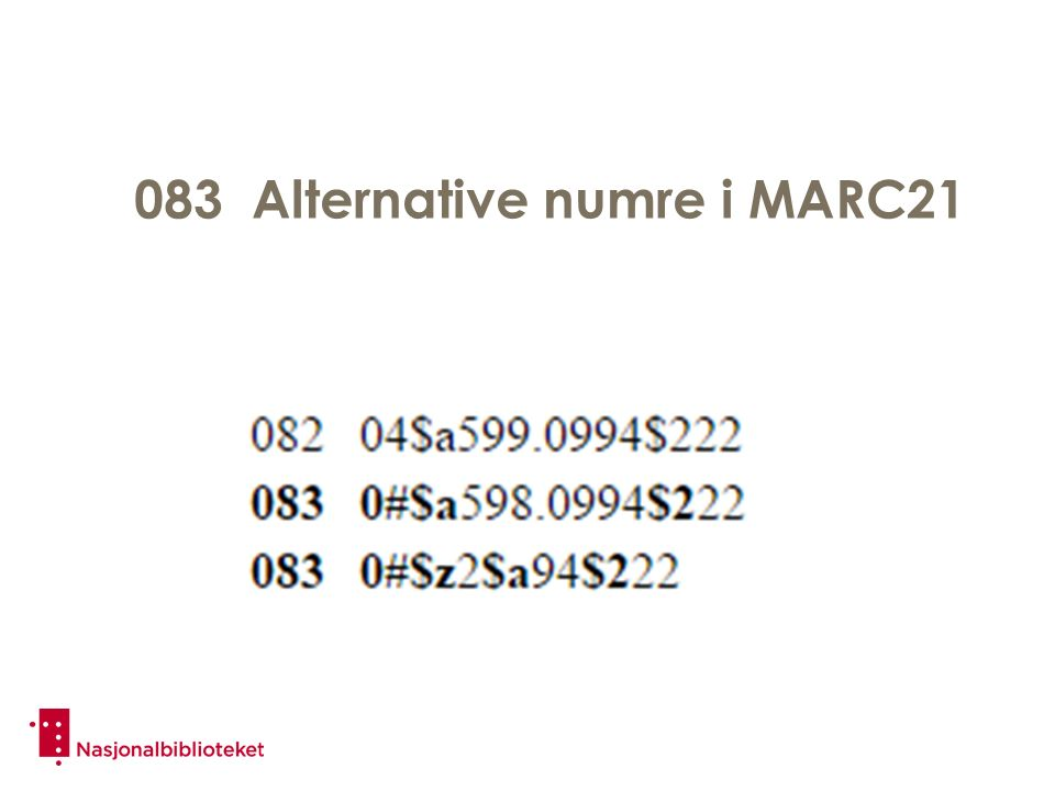 083 Alternative numre i MARC21