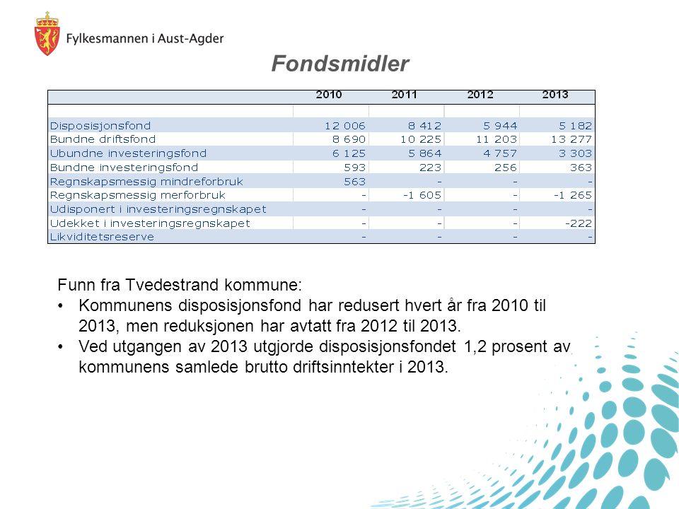 Funn fra Tvedestrand kommune: Kommunens disposisjonsfond har redusert hvert år fra 2010 til 2013, men reduksjonen har avtatt fra 2012 til 2013.