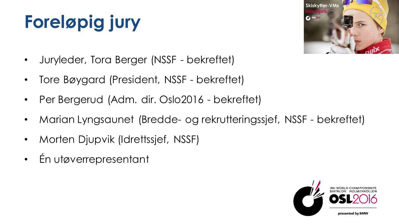 Foreløpig jury Juryleder, Tora Berger (NSSF - bekreftet) Tore Bøygard (President, NSSF - bekreftet) Per Bergerud (Adm.
