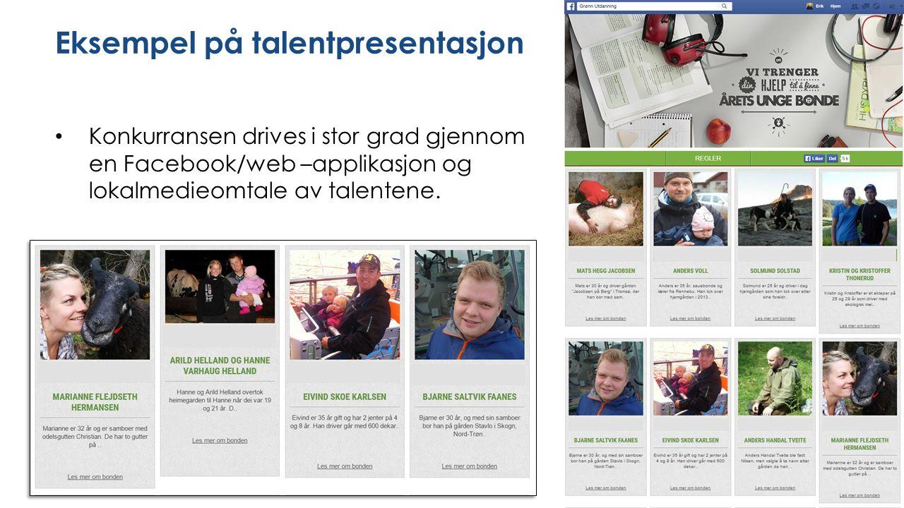 Eksempel på talentpresentasjon Konkurransen drives i stor grad gjennom en Facebook/web –applikasjon og lokalmedieomtale av talentene.