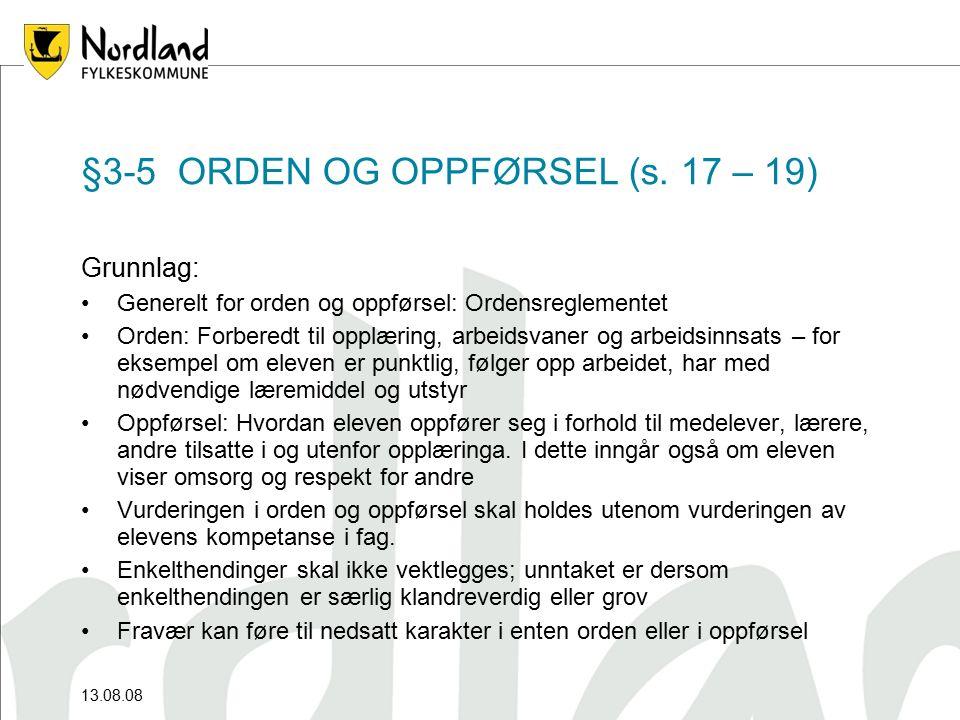 §3-5 ORDEN OG OPPFØRSEL (s.