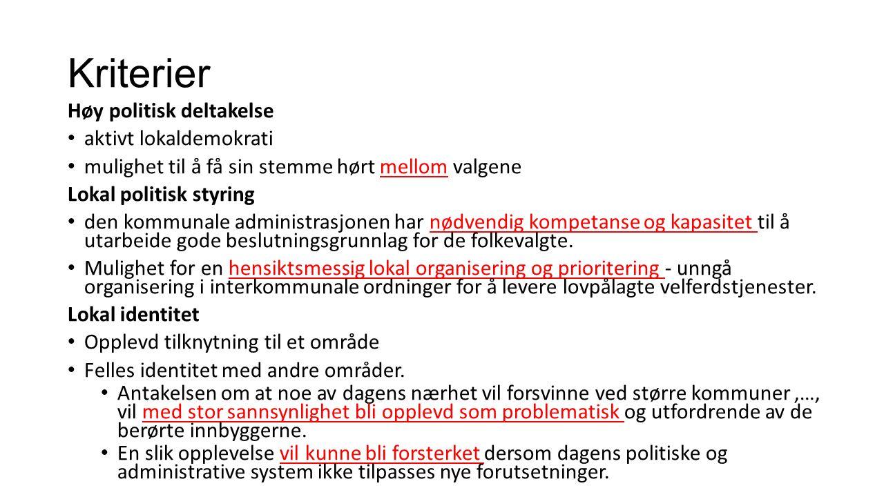 Kriterier Høy politisk deltakelse aktivt lokaldemokrati mulighet til å få sin stemme hørt mellom valgene Lokal politisk styring den kommunale administrasjonen har nødvendig kompetanse og kapasitet til å utarbeide gode beslutningsgrunnlag for de folkevalgte.
