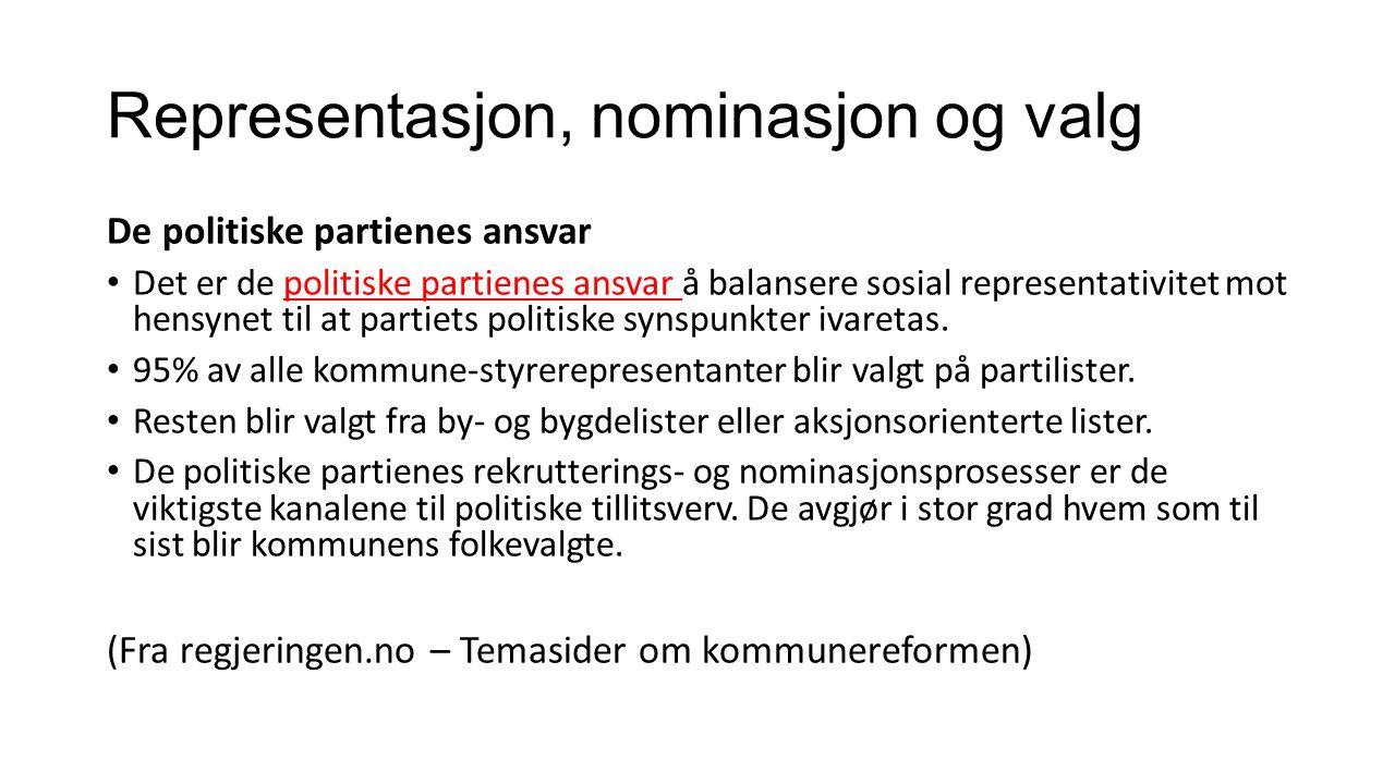 Representasjon, nominasjon og valg De politiske partienes ansvar Det er de politiske partienes ansvar å balansere sosial representativitet mot hensynet til at partiets politiske synspunkter ivaretas.