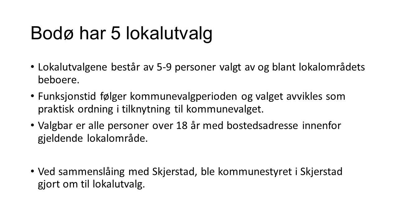 Bodø har 5 lokalutvalg Lokalutvalgene består av 5-9 personer valgt av og blant lokalområdets beboere. Funksjonstid følger kommunevalgperioden og valge