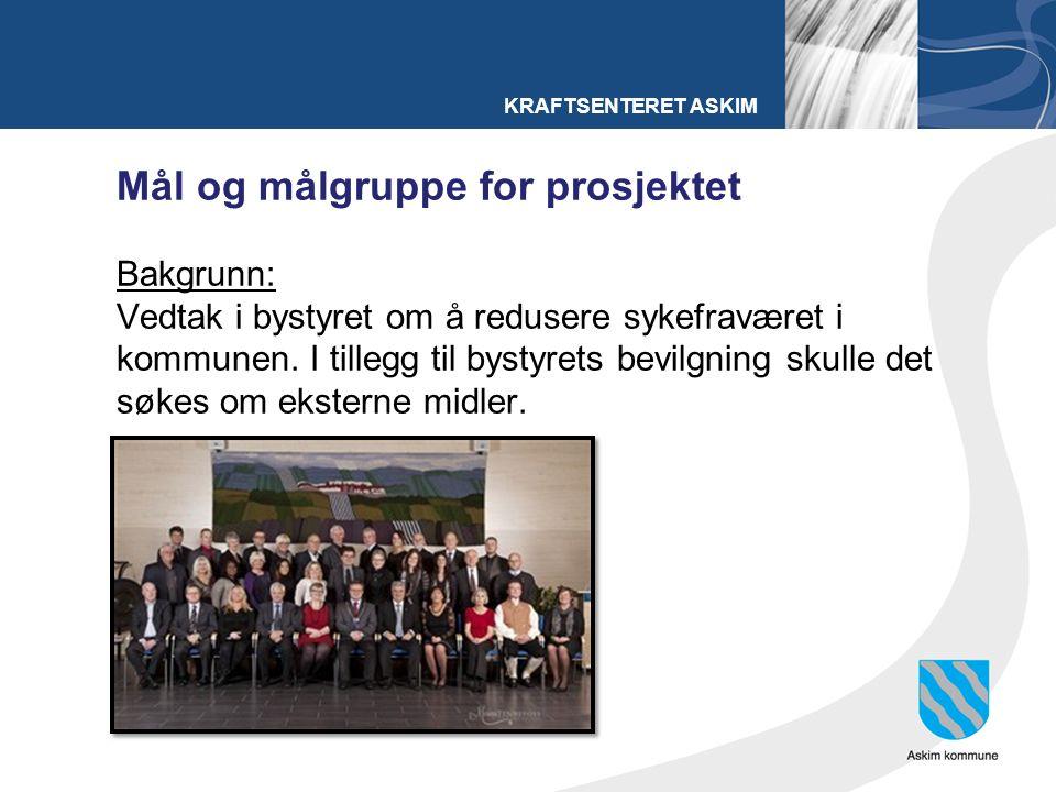 KRAFTSENTERET ASKIM Mål og målgruppe for prosjektet Bakgrunn: Vedtak i bystyret om å redusere sykefraværet i kommunen.