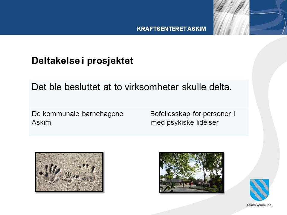 KRAFTSENTERET ASKIM Deltakelse i prosjektet Det ble besluttet at to virksomheter skulle delta.