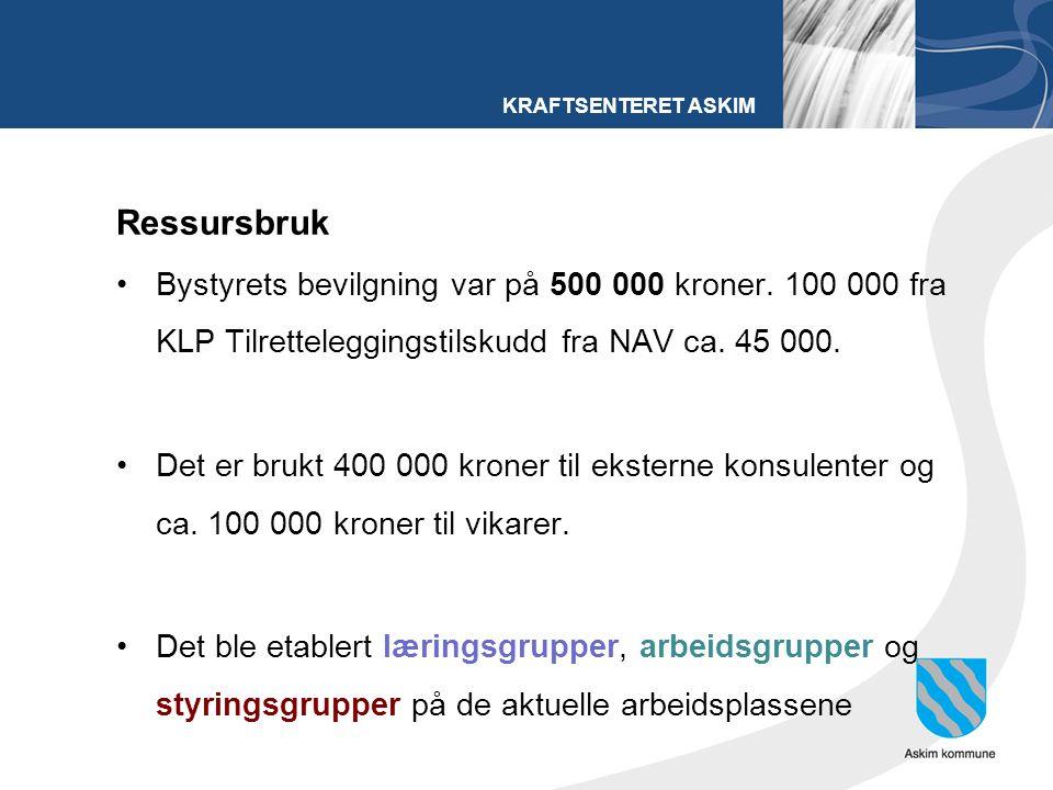 KRAFTSENTERET ASKIM Ressursbruk Bystyrets bevilgning var på 500 000 kroner.