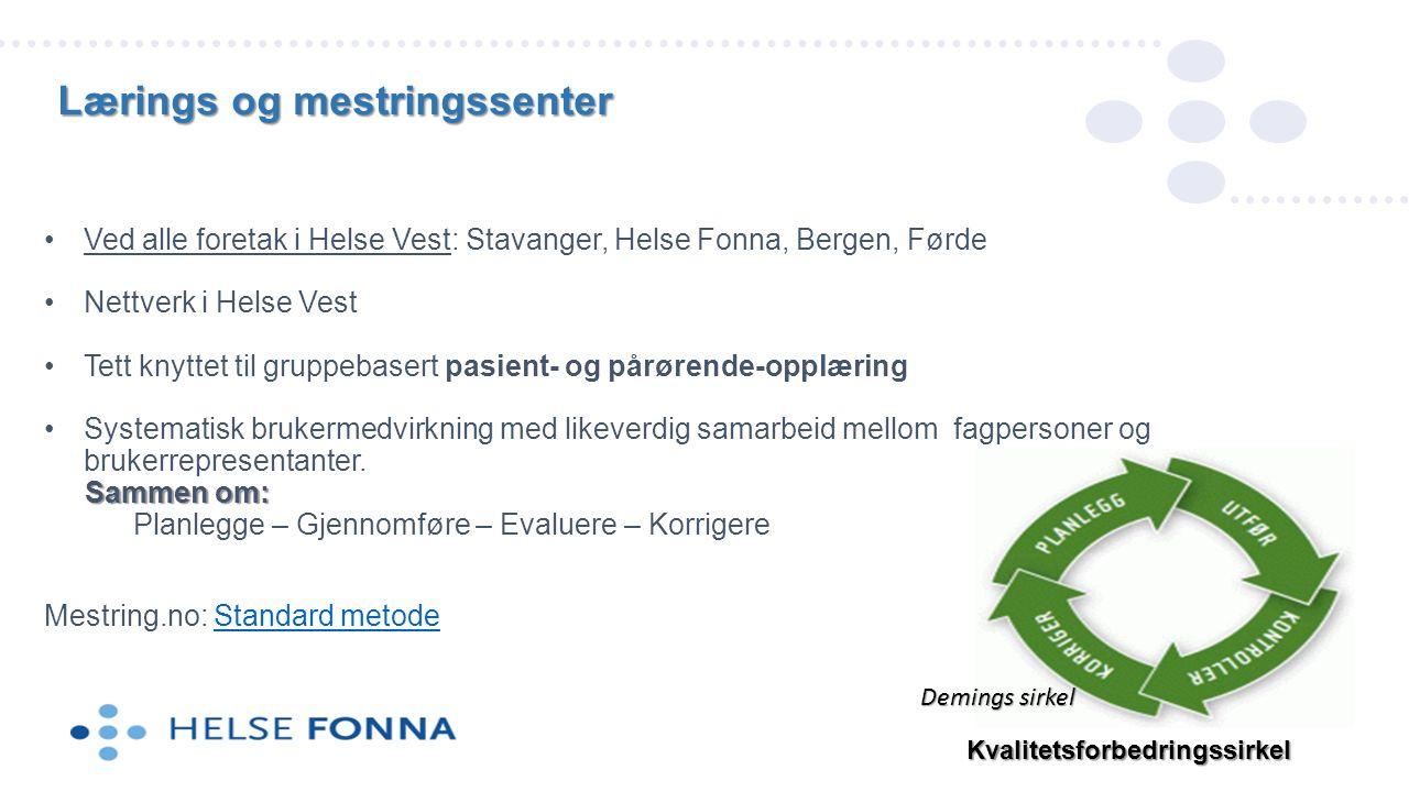 Ved alle foretak i Helse Vest: Stavanger, Helse Fonna, Bergen, Førde Nettverk i Helse Vest Tett knyttet til gruppebasert pasient- og pårørende-opplæring Systematisk brukermedvirkning med likeverdig samarbeid mellom fagpersoner og brukerrepresentanter.