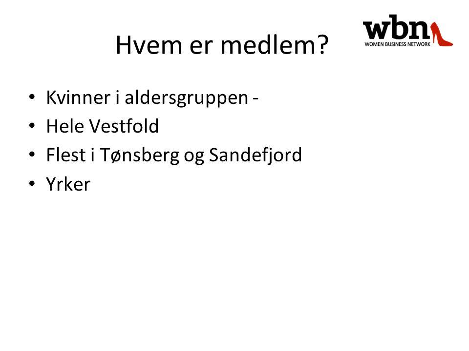 Hvem er medlem? Kvinner i aldersgruppen - Hele Vestfold Flest i Tønsberg og Sandefjord Yrker