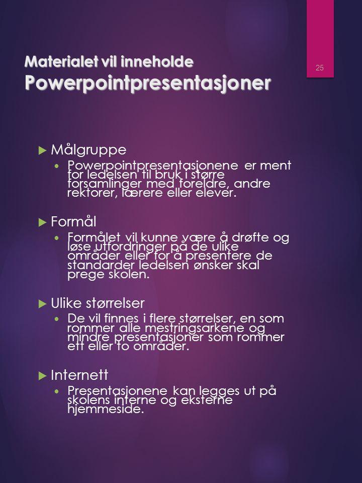 Materialet vil inneholde Powerpointpresentasjoner  Målgruppe Powerpointpresentasjonene er ment for ledelsen til bruk i større forsamlinger med foreldre, andre rektorer, lærere eller elever.