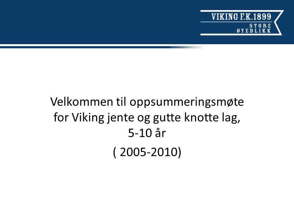 Velkommen til oppsummeringsmøte for Viking jente og gutte knotte lag, 5-10 år ( 2005-2010)