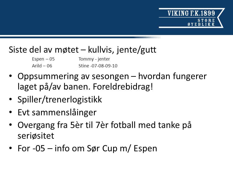 Siste del av møtet – kullvis, jente/gutt Espen – 05Tommy - jenter Arild – 06 Stine -07-08-09-10 Oppsummering av sesongen – hvordan fungerer laget på/av banen.