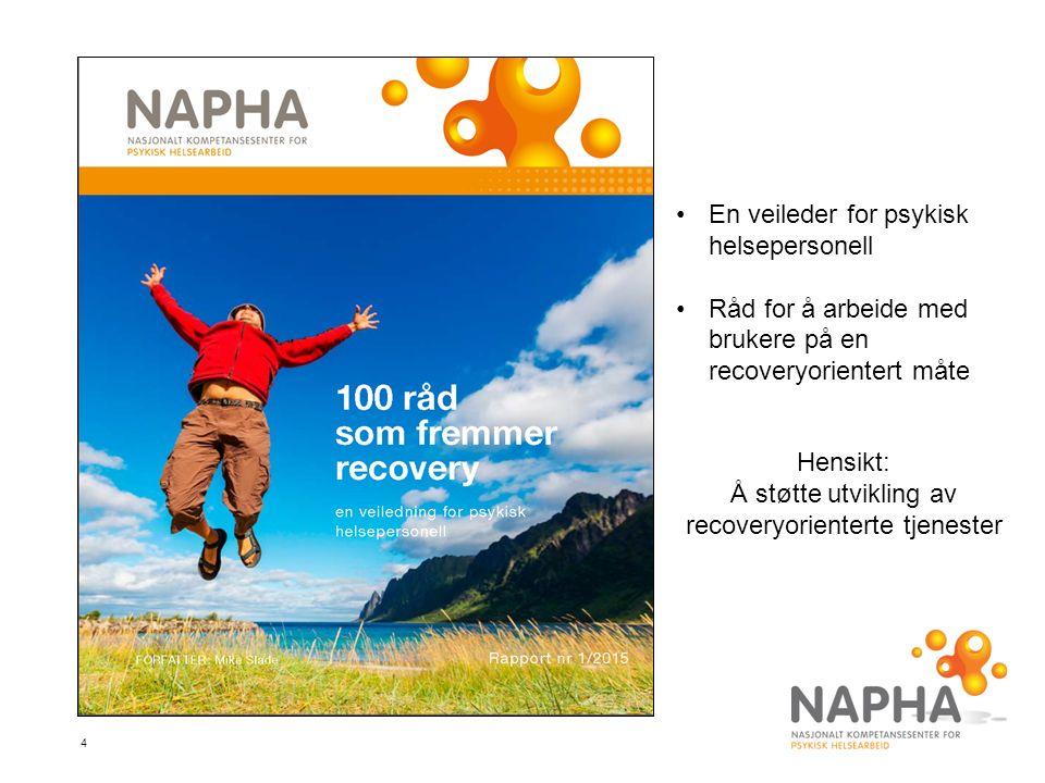 4 En veileder for psykisk helsepersonell Råd for å arbeide med brukere på en recoveryorientert måte Hensikt: Å støtte utvikling av recoveryorienterte tjenester