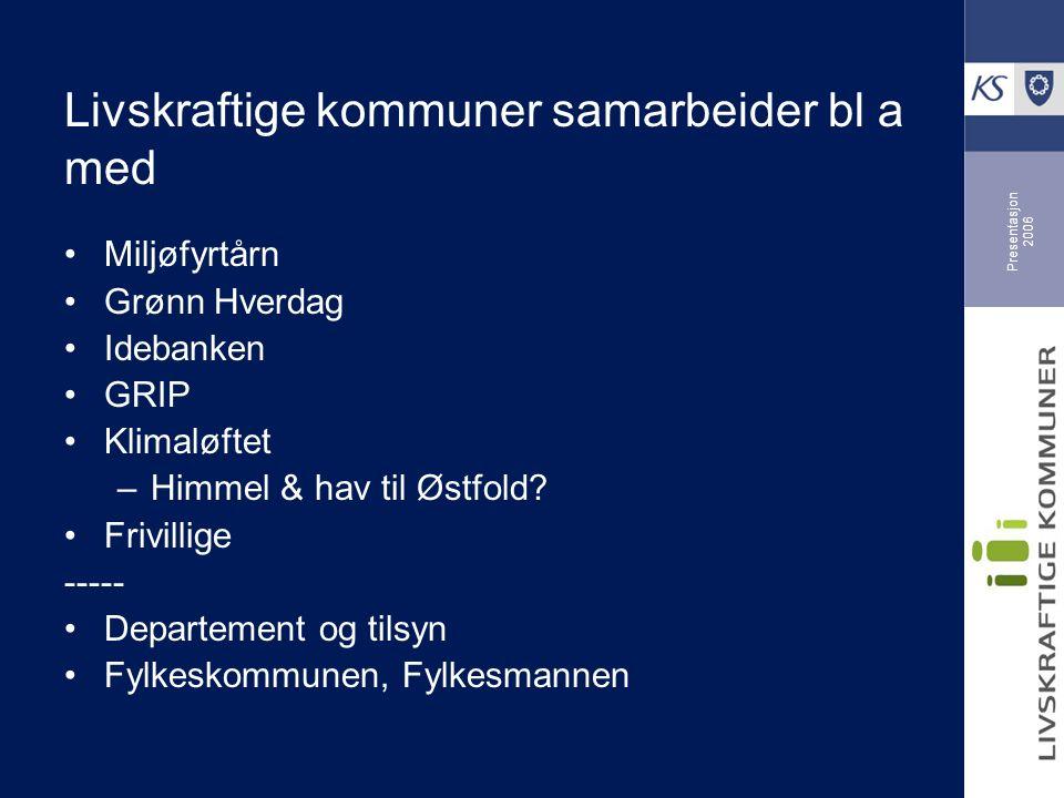 Presentasjon 2006 Livskraftige kommuner samarbeider bl a med Miljøfyrtårn Grønn Hverdag Idebanken GRIP Klimaløftet –Himmel & hav til Østfold.