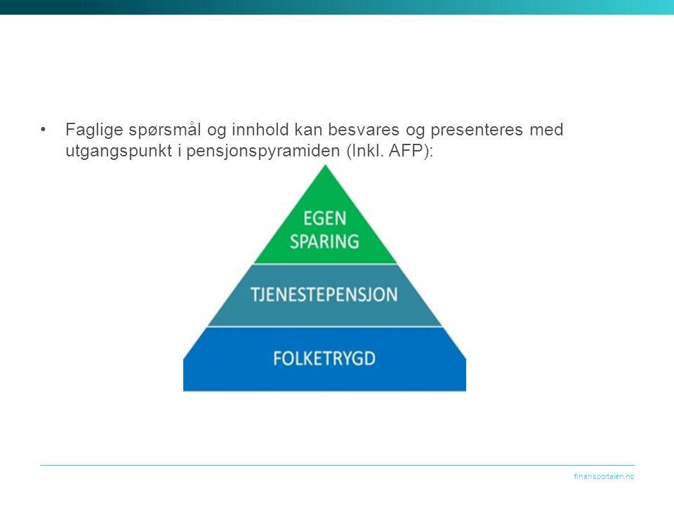 finansportalen.no Faglige spørsmål og innhold kan besvares og presenteres med utgangspunkt i pensjonspyramiden (Inkl.