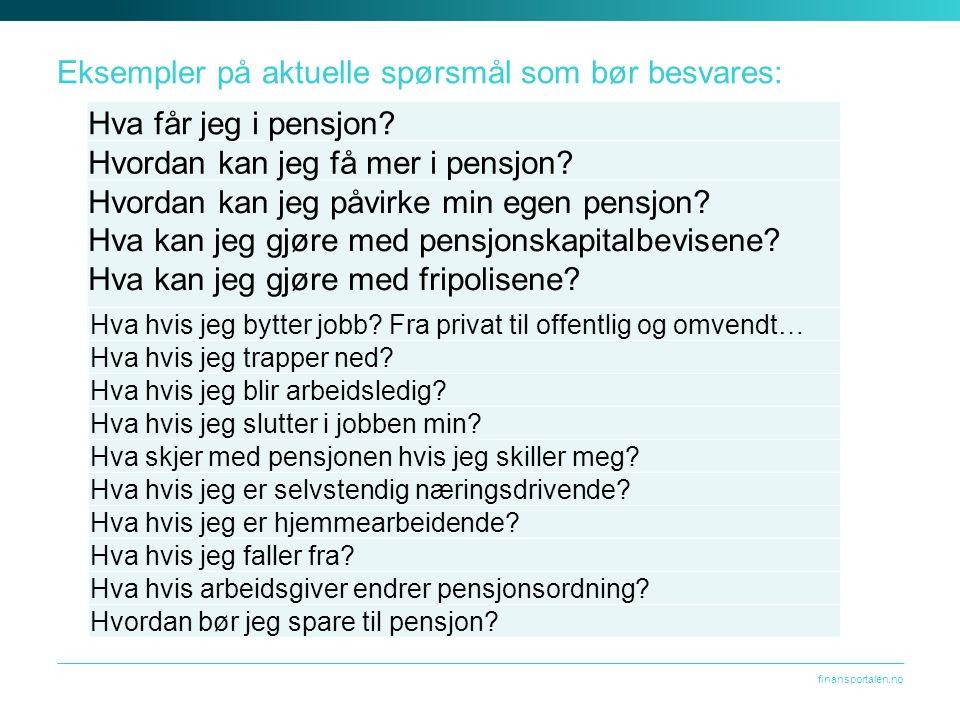 finansportalen.no Eksempler på aktuelle spørsmål som bør besvares: Hva får jeg i pensjon.