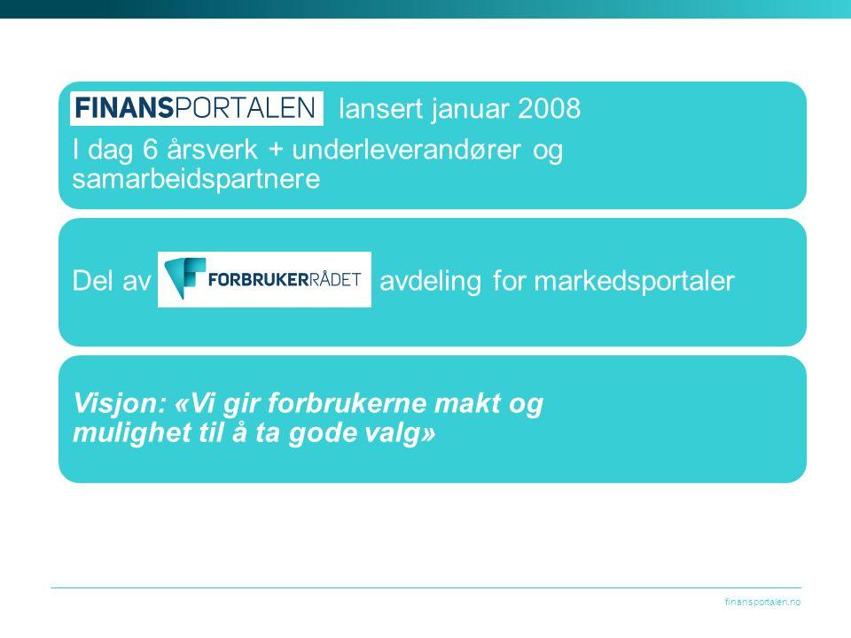 finansportalen.no Finansportalen lansert januar 2008 I dag 6 årsverk + underleverandører og samarbeidspartnere Del av Forbrukerrådet, avdeling for markedsportaler Visjon: «Vi gir forbrukerne makt og mulighet til å ta gode valg»