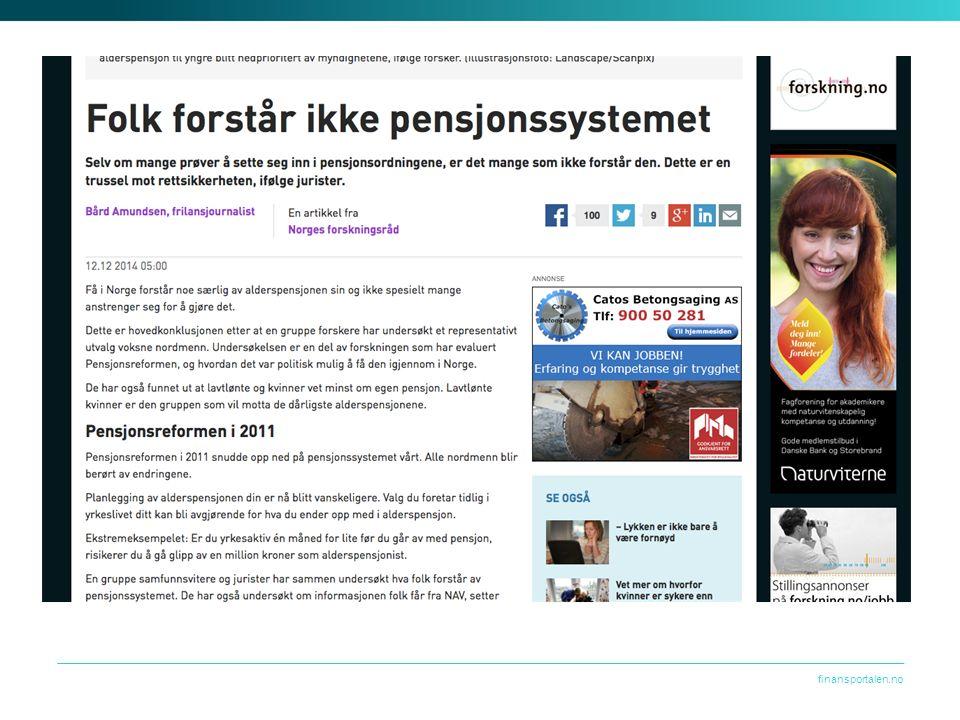 Utfordringen er at mange forbrukere: Ikke har en god forståelse av hvordan pensjonssystemet i Norge fungerer Ikke vet hvilke pensjonsordninger de er omfattet av i sin nåværende jobb Ikke har oversikt over hvilke rettigheter de har opparbeidet seg gjennom tidligere arbeidsforhold, eller hvordan deres prognose for fremtidige alderspensjon ser ut Er usikre på hvordan de best kan spare til egen pensjon
