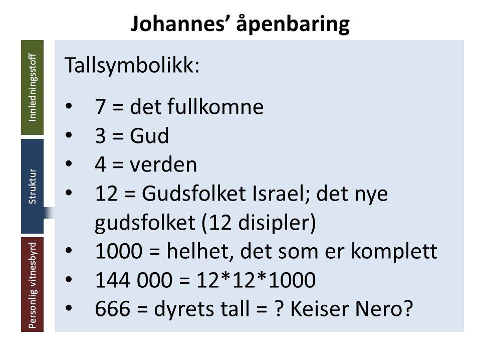 Innledningsstoff Struktur Personlig vitnesbyrd Tallsymbolikk: 7 = det fullkomne 3 = Gud 4 = verden 12 = Gudsfolket Israel; det nye gudsfolket (12 disipler) 1000 = helhet, det som er komplett 144 000 = 12*12*1000 666 = dyrets tall = .