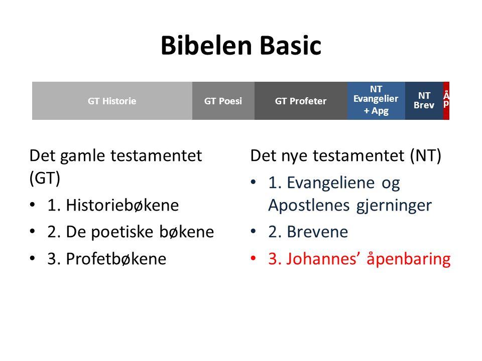 Det gamle testamentet (GT) 1. Historiebøkene 2. De poetiske bøkene 3.