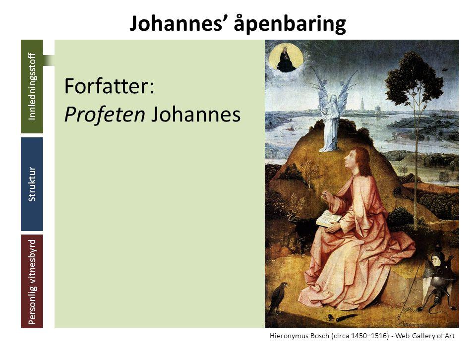 Innledningsstoff Struktur Personlig vitnesbyrd Adressat: De syv menighetene Johannes' åpenbaring