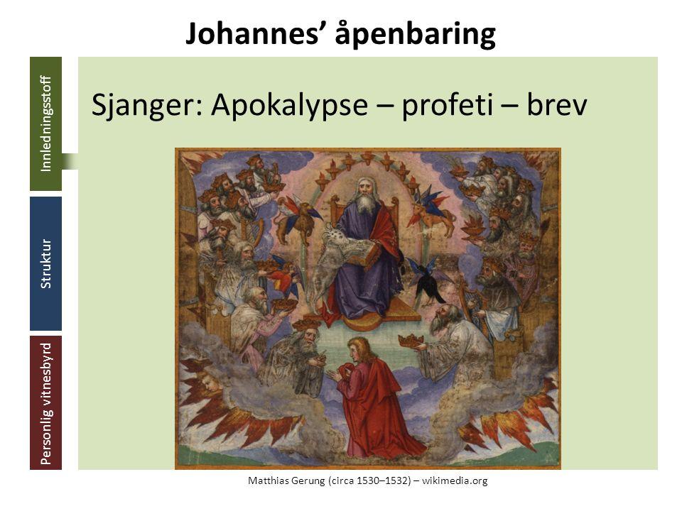 Innledningsstoff Struktur Personlig vitnesbyrd Sjanger: Apokalypse – profeti – brev Johannes' åpenbaring Matthias Gerung (circa 1530–1532) – wikimedia.org