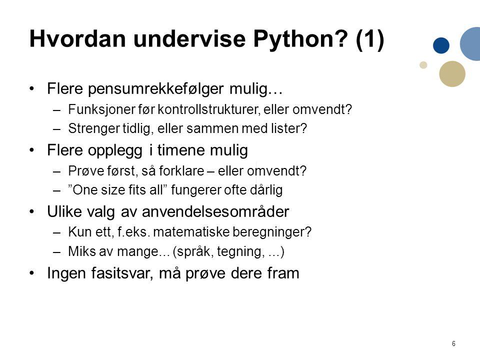 6 Hvordan undervise Python.