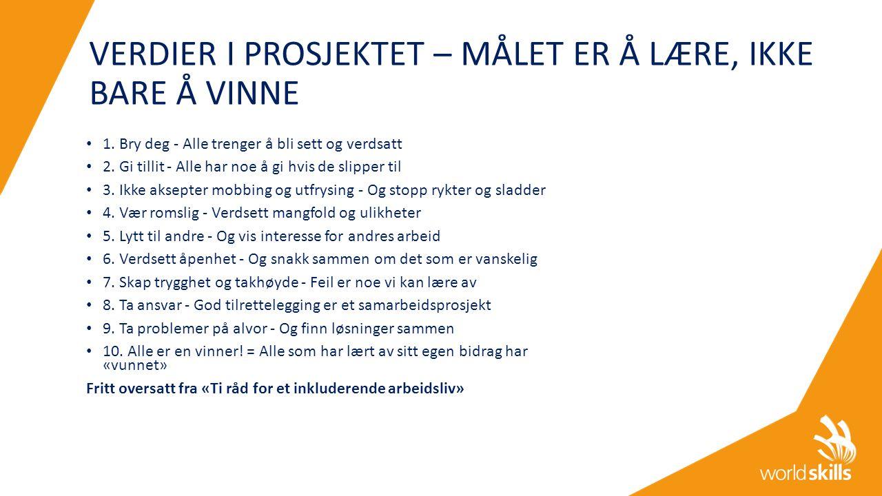 VERDIER I PROSJEKTET – MÅLET ER Å LÆRE, IKKE BARE Å VINNE 1.