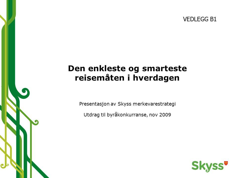 Den enkleste og smarteste reisemåten i hverdagen Presentasjon av Skyss merkevarestrategi Utdrag til byråkonkurranse, nov 2009 VEDLEGG B1