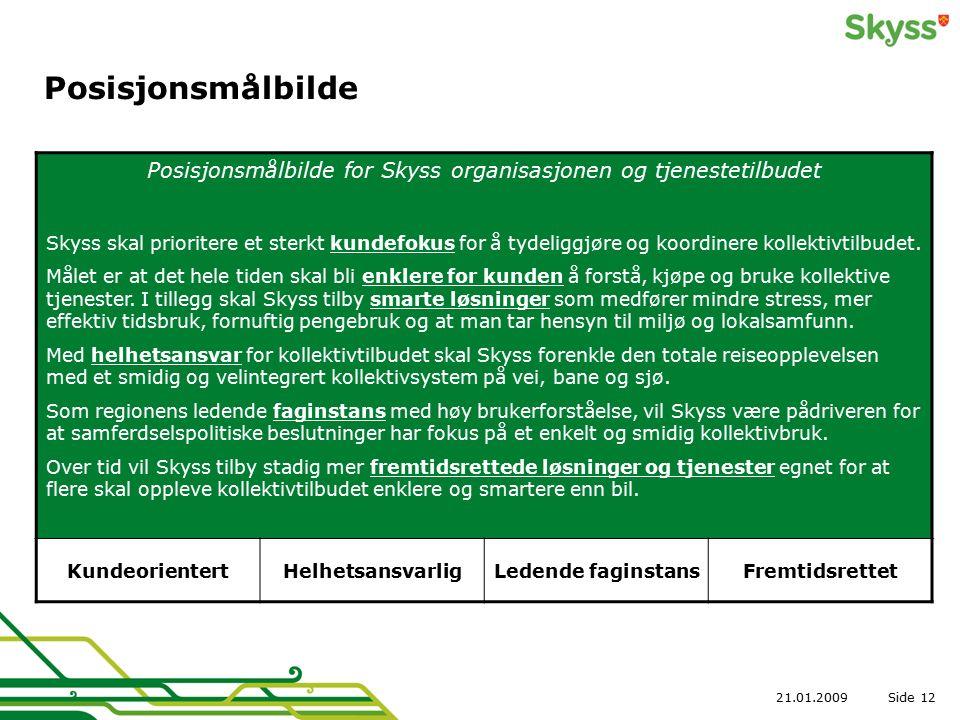 Side21.01.200912 Posisjonsmålbilde Posisjonsmålbilde for Skyss organisasjonen og tjenestetilbudet Skyss skal prioritere et sterkt kundefokus for å tydeliggjøre og koordinere kollektivtilbudet.