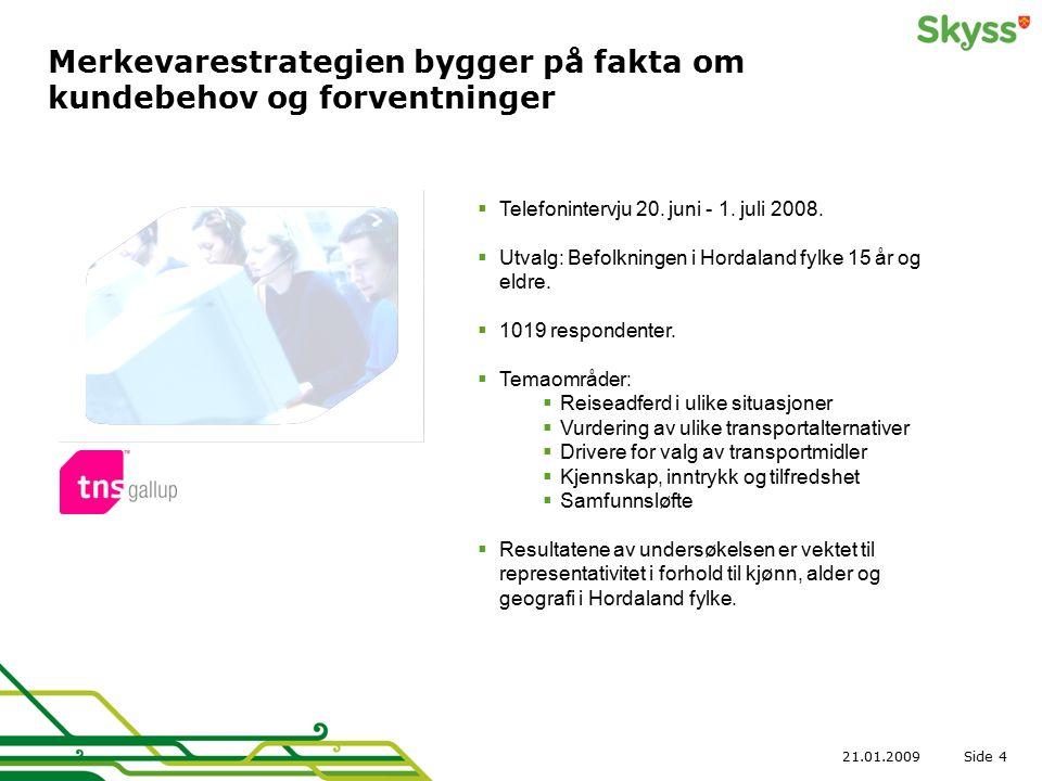 Side21.01.20094 Merkevarestrategien bygger på fakta om kundebehov og forventninger  Telefonintervju 20. juni - 1. juli 2008.  Utvalg: Befolkningen i
