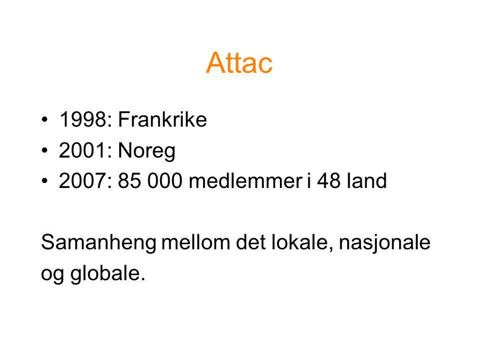 Attac 1998: Frankrike 2001: Noreg 2007: 85 000 medlemmer i 48 land Samanheng mellom det lokale, nasjonale og globale.