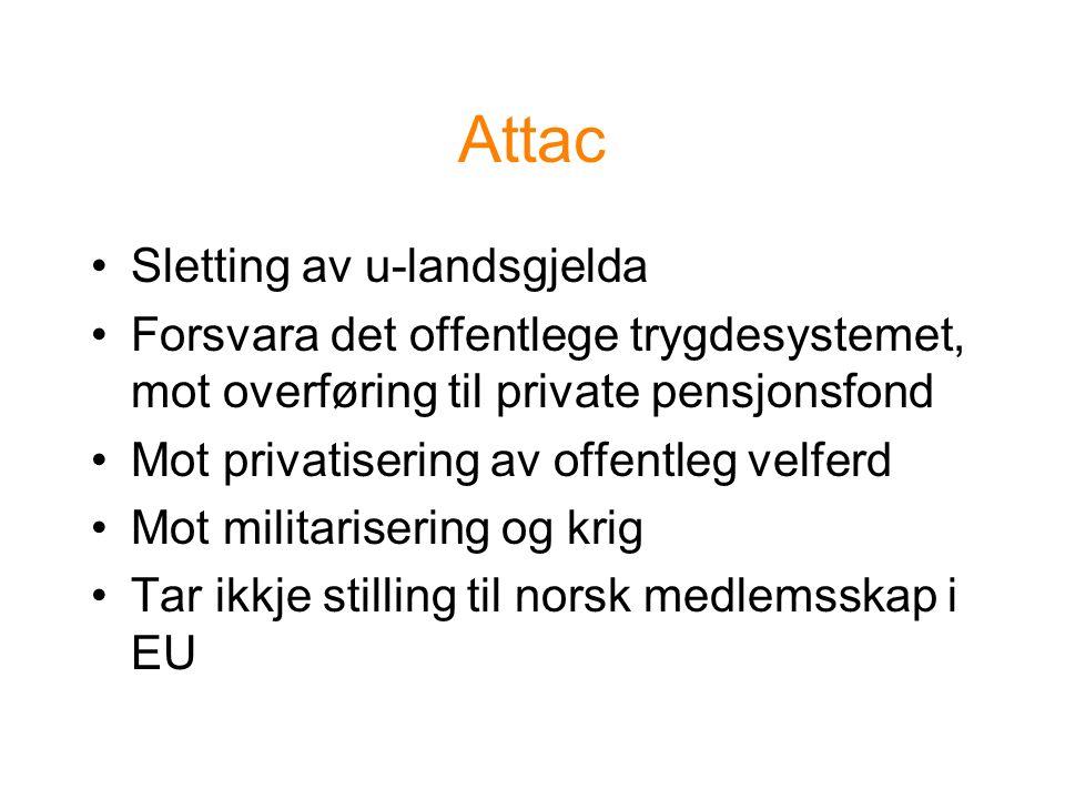 Attac Sletting av u-landsgjelda Forsvara det offentlege trygdesystemet, mot overføring til private pensjonsfond Mot privatisering av offentleg velferd Mot militarisering og krig Tar ikkje stilling til norsk medlemsskap i EU