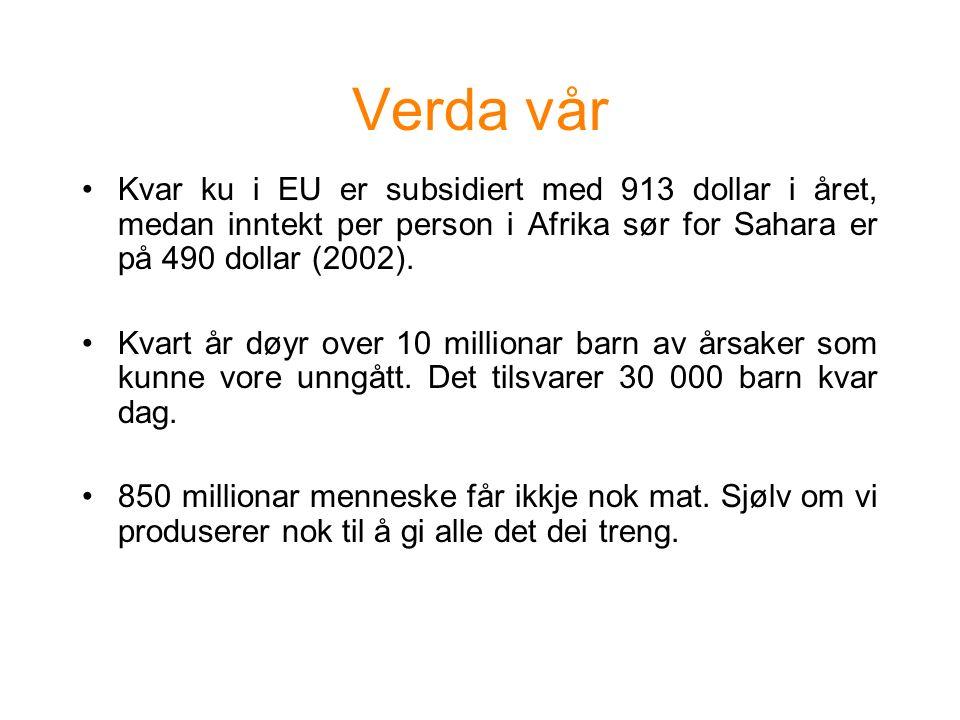 Verda vår Kvar ku i EU er subsidiert med 913 dollar i året, medan inntekt per person i Afrika sør for Sahara er på 490 dollar (2002).