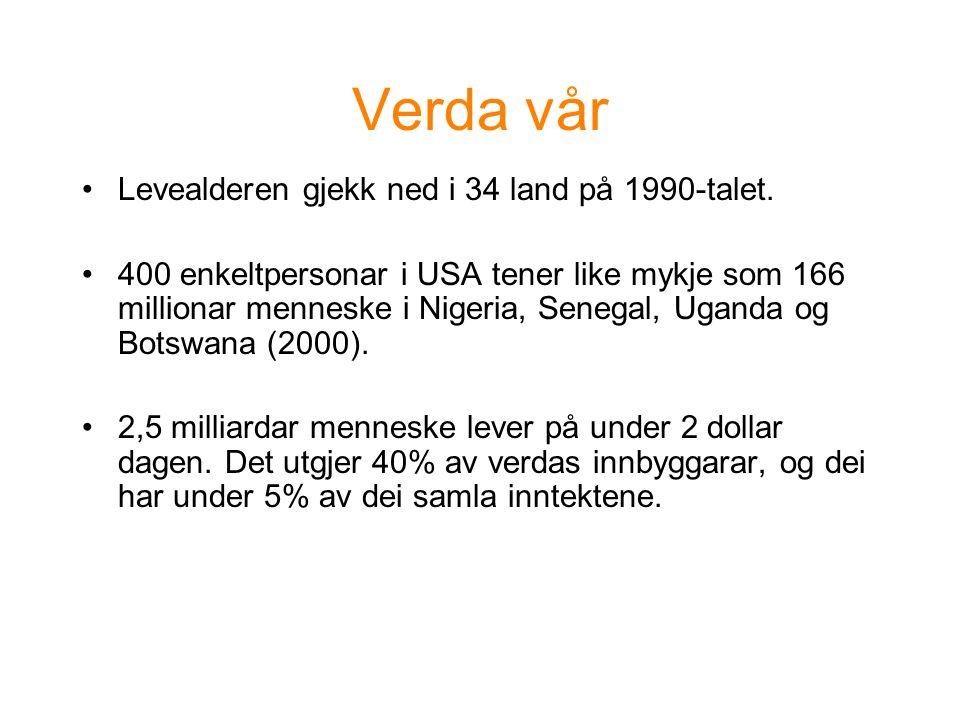 Verda vår Levealderen gjekk ned i 34 land på 1990-talet.