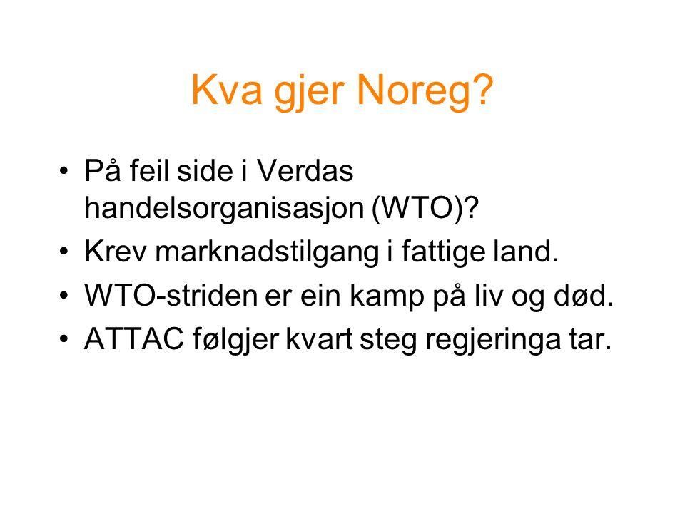 Kva gjer Noreg. På feil side i Verdas handelsorganisasjon (WTO).