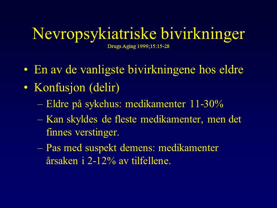 Nevropsykiatriske bivirkninger Drugs Aging 1999;15:15-28 En av de vanligste bivirkningene hos eldre Konfusjon (delir) –Eldre på sykehus: medikamenter 11-30% –Kan skyldes de fleste medikamenter, men det finnes verstinger.