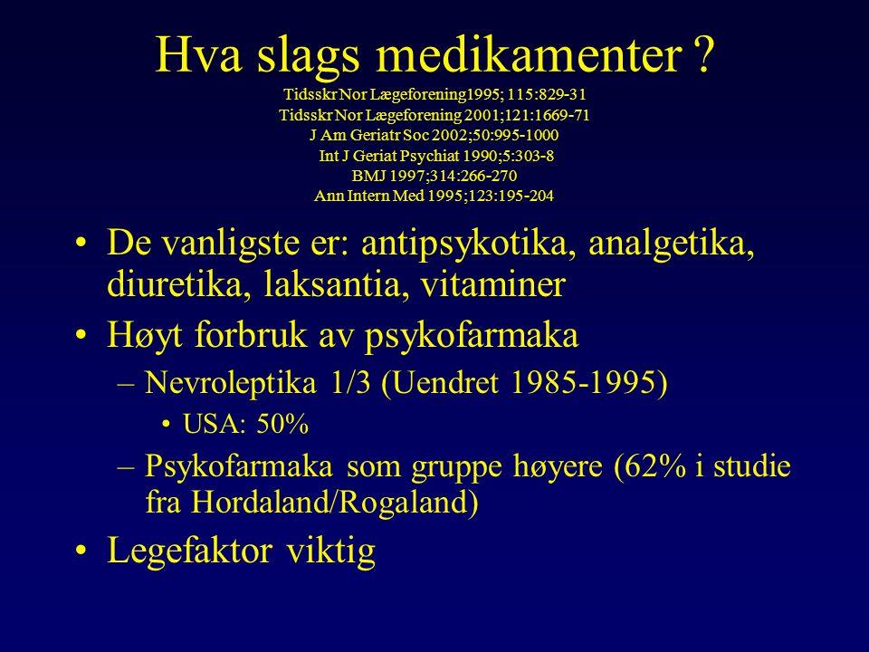Endring ved innleggelse Tidsskr Nor Lægeforening 1995;115:829-31 J Am Geriatr Soc 1992;40:53-6 Undersøkt i flere studier både nasjonalt og internasjonalt.